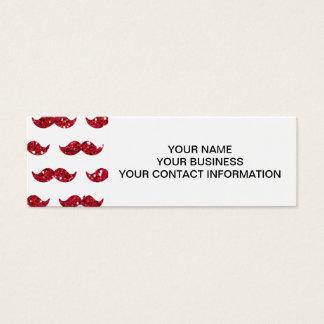 Funny Red Glitter Mustache Pattern Printed Mini Business Card