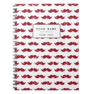 Funny Red Glitter Mustache Pattern Printed Note Book