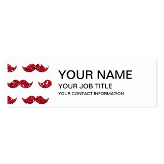 Funny Red Glitter Mustache Pattern Printed Pack Of Skinny Business Cards