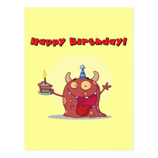 Funny Red Happy Birthday Monster With Cake Post Cards
