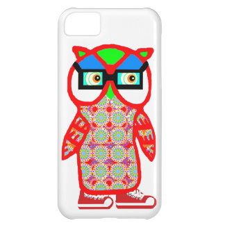 Funny Red Hipster Owl White iPhone Case iPhone 5C Case