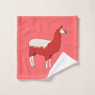 Funny Red Llama Wash Cloth