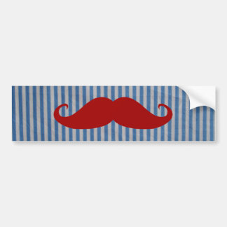 Funny Red Mustache And Blue White Stripes Bumper Sticker