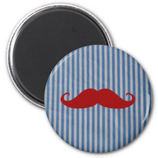 Funny Red Mustache And Blue White Stripes Refrigerator Magnets