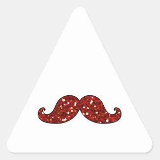 FUNNY RED MUSTACHE PRINTED GLITTER TRIANGLE STICKER