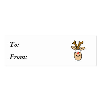 Funny Red Nose Reindeer Head Pack Of Skinny Business Cards
