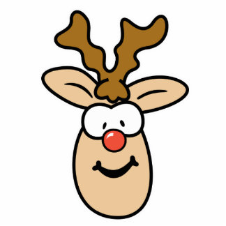 Funny Red Nose Reindeer Head Standing Photo Sculpture
