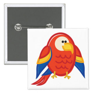 Funny Red Parrot on White Pinback Button