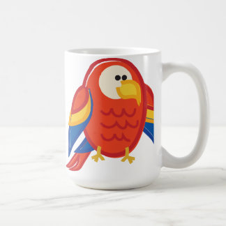 Funny Red Parrot on White Coffee Mug