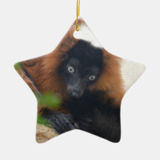 Funny Red Ruffed Lemur Ceramic Ornament