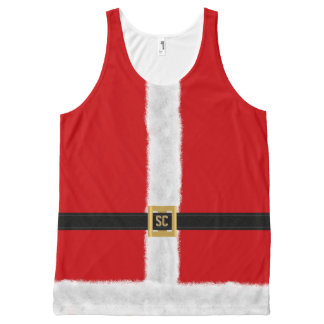 Funny Red Santa Suit Festive Christmas All-Over Print Singlet