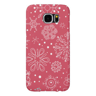 Funny Red Snowflakes Pattern Samsung Galaxy S6 Cases