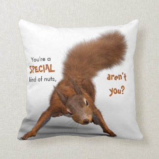 Funny Red Squirrel Photo | Special Kind of Nuts Cushion