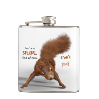 Funny Red Squirrel Photo | Special Kind of Nuts Hip Flask