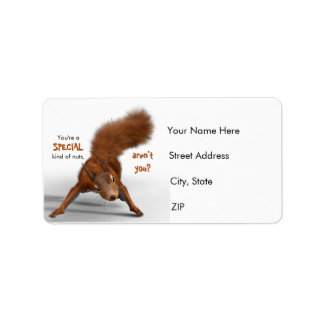 Funny Red Squirrel Photo | Special Kind of Nuts Label
