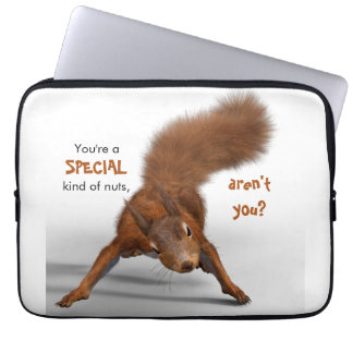 Funny Red Squirrel Photo   Special Kind of Nuts Laptop Sleeve