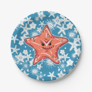 Funny Red Starfish with a tiny smirk Paper Plate