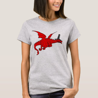 Funny Red Welsh Dragon In Traditional Hat T-Shirt