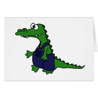 Funny Redneck Alligator in Overalls Card