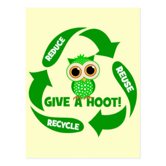 funny reduce reuse recycle post card