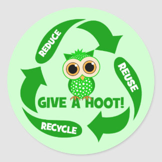 funny reduce reuse recycle classic round sticker