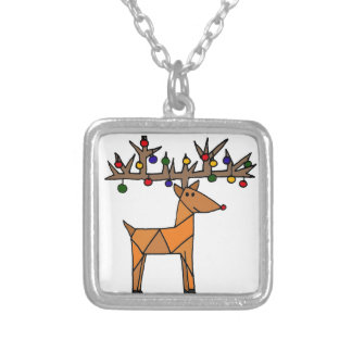 Funny Reindeer Christmas Abstract Silver Plated Necklace