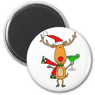 Funny Reindeer Drinking Margarita Christmas Art Magnet