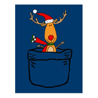 Funny Reindeer in a Pocket Christmas Cartoon Postcard
