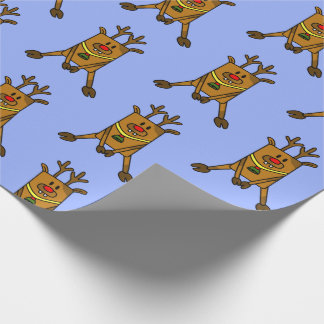 Funny Reindeer on Blue Wrapping Paper