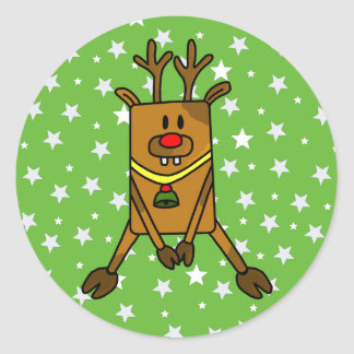 Funny Reindeer with Stars on Green Classic Round Sticker