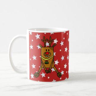 Funny Reindeer with White Stars on Red Coffee Mug