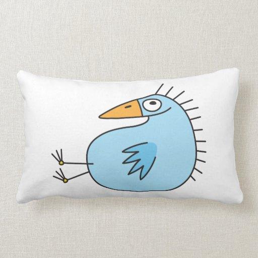Funny relaxing blue bird cute animal cartoon throw pillow Zazzle