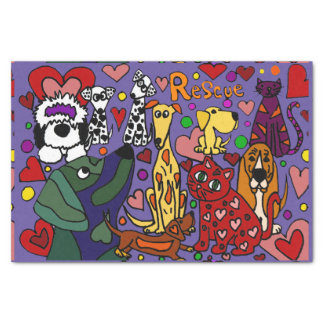 Funny Rescue Dogs and Cats Love Abstract Tissue Paper