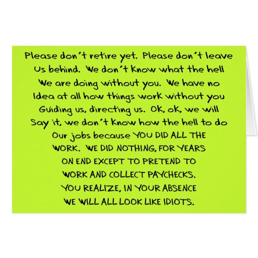Funny Retirement Cards   Zazzle Someone Writing