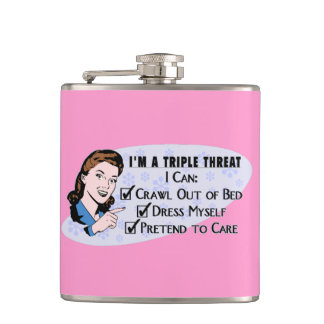 Funny Retro 50's Sarcastic Woman: Triple Threat Hip Flasks