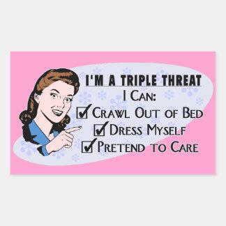 Funny Retro 50's Sarcastic Woman: Triple Threat Sticker