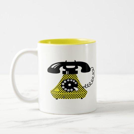 Funny Retro Cartoon Phone Stylish Vintage Unique Two-Tone Coffee Mug
