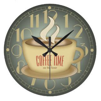 Funny Retro Coffee Time Custom Colour Large Clock
