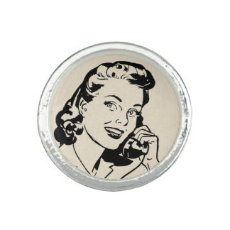 Funny Retro Housewife on Vintage Telephone Ring