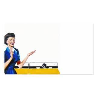 Funny Retro Housewife with Washing Machine Pack Of Standard Business Cards