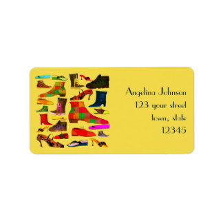 Funny Retro Lovely Shoes Cartoon Colorful Bright Address Label