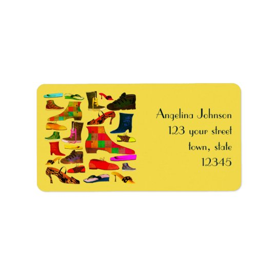 Funny Retro Lovely Shoes Cartoon Colourful Bright Address Label