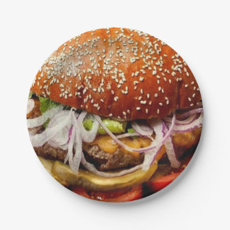 funny retro novelty gift fast food hamburger paper plate