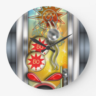 Funny Retro Pinball Machine Large Clock