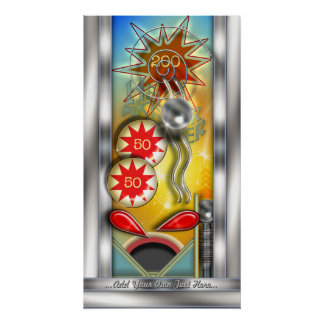 Funny Retro Pinball Machine Personalized Poster