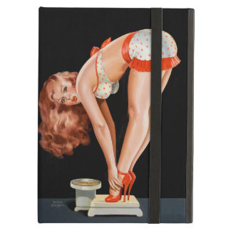 Funny retro pinup girl on a weight scale iPad air case