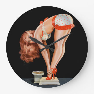 Funny retro pinup girl on a weight scale large clock