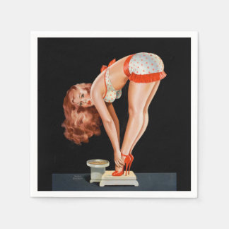 Funny retro pinup girl on a weight scale paper napkins