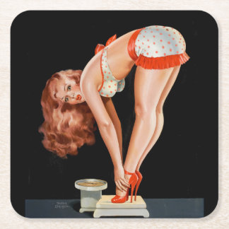 Funny retro pinup girl on a weight scale square paper coaster
