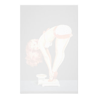 Funny retro pinup girl on a weight scale stationery